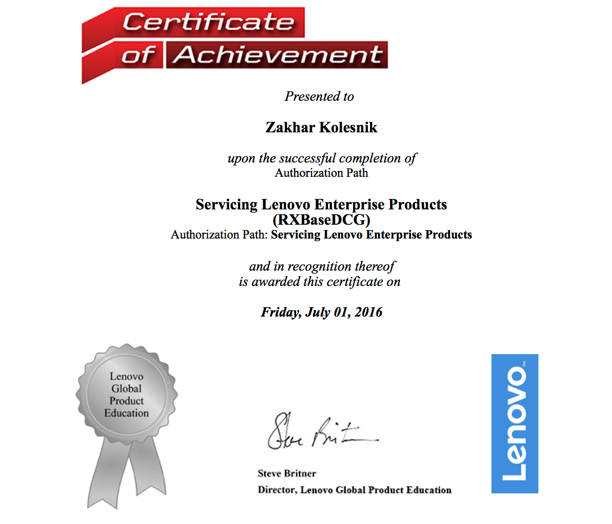 Lenovo: Servicing Lenovo Enterprise Products (RXBaseDCG)