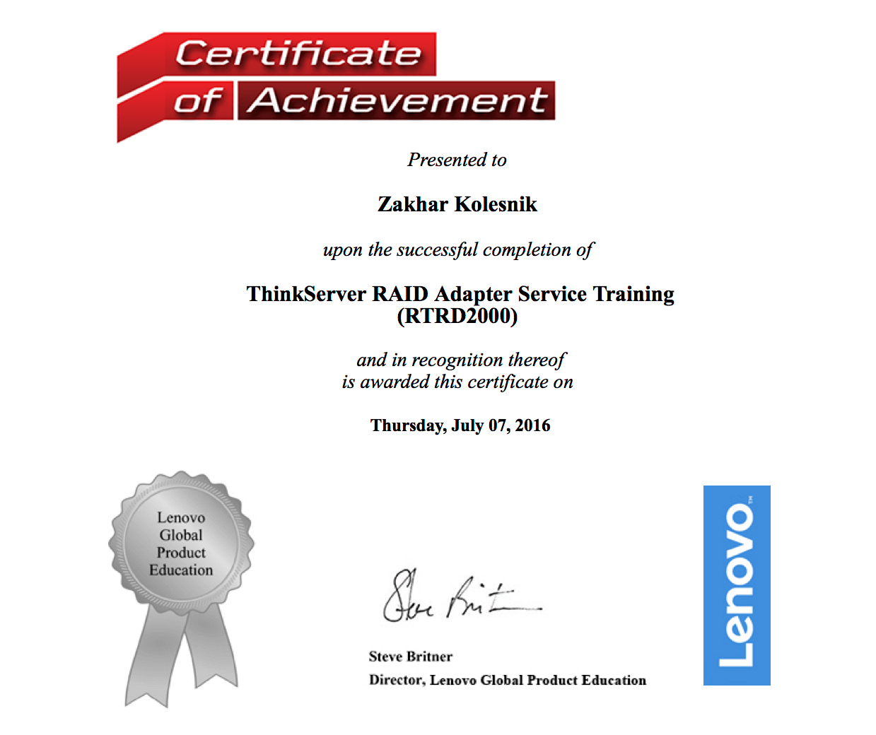 Lenovo: ThinkServer RAID AdapterService Training (RTRD2000)
