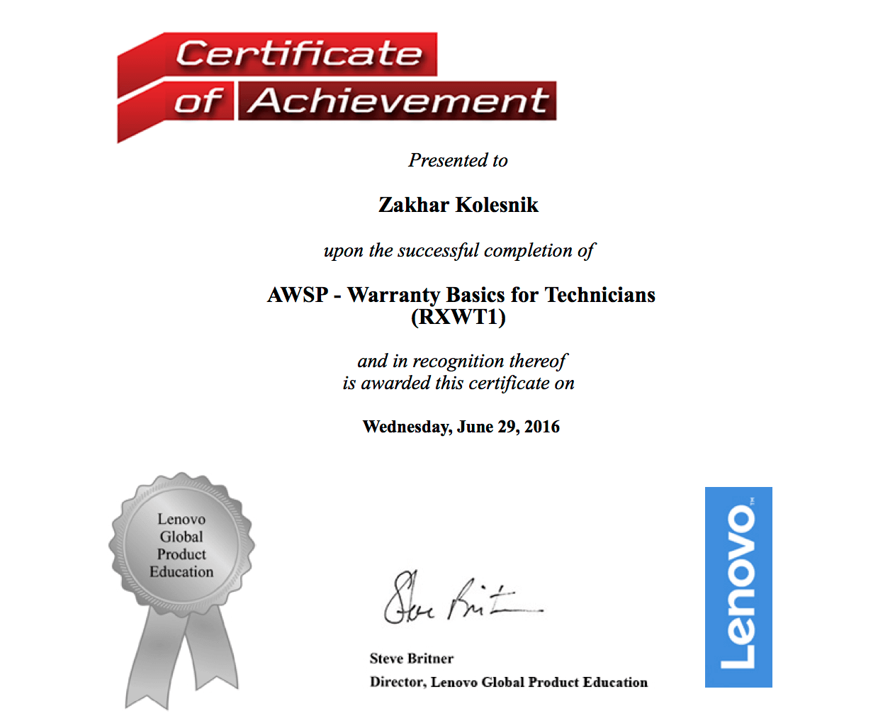 Lenovo: AWSP ­ Warranty Basics for Technicians (RXWWT1)